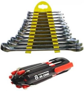 8in1 Led Screw Driver set with 12 Pc & wrench set Combination Screwdriver Set