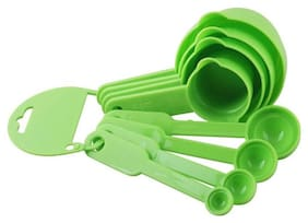 8Pcs Plastic Measuring Cup And Spoon Set, Green