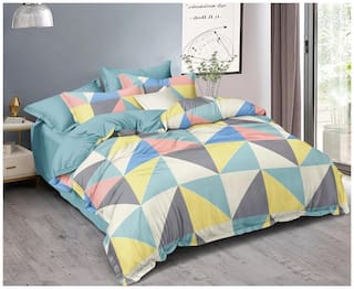 DREAM LIVING Microfiber Geometric Double Size Bedsheet 90 TC ( 1 Bedsheet With 2 Pillow Covers , Multi )