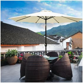 10ft Patio Umbrella Canopy Outdoor Sun Garden Cafe Shade Beige with LED Light