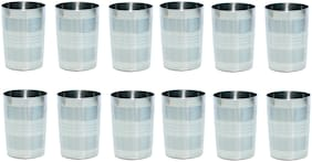 A and H Enterprise Stainless Steel Glasses - Designer Multi Purpose Unbreakable Water Drinking Glass Set Of 12 ( 250 ml )