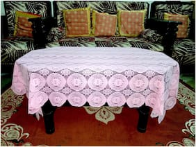 A & H Enterprises Centre Table Cover 4 Seater Printed Design Polyester Net Cover For Living Room - Pink