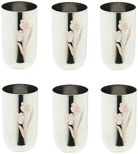 A&H Enterprises Stainless Steel Laser Floral Water Glass Tumbler Drinkware & Tableware Unbreakale Daily & Regular Water Drinking Glass 250 ml - Set of 6 pcs