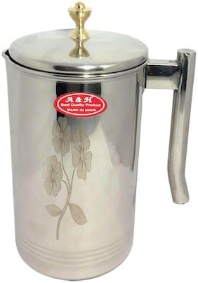 A & H Enterprises Steel Jug For Water with Lid 2L Laser Flower Design Water Storage & Drinking Water Jug Set of 1 pc