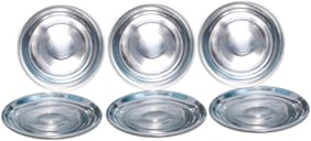 A & H Enterprises Dinner Plates Full Size Stainless Steel - Designer Multi Purpose Unbreakable Full Plates Set Of 6