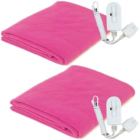 A-One Winter Care SINGLE BED Electric Blanket (Poly Coral Fabric) - MAGENTA (Twin Pack) (36x72 inches)