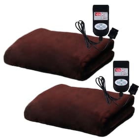 A-One Winter Care SINGLE BED Automatic Electric Blanket (Poly Mink Fabric) - COFFEE BROWN (Twin Pack) (36x72 inches)