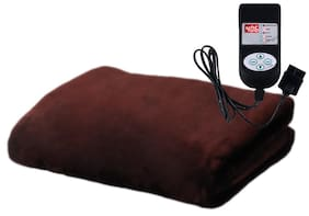 A-One Winter Care SINGLE BED Automatic Electric Blanket (Poly Mink Fabric) - COFFEE BROWN (36x72 inches)