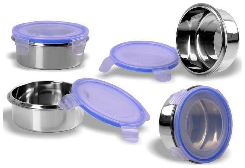AA TOPWARE 4 Containers Stainless steel Lunch Box   Blue   Silver