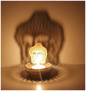 Aadishwar Creations Shadow Lord buddha Tea Light Holder + One Free Tealight Candle