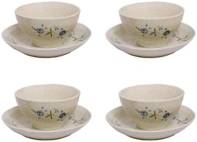 Aakriti Bone China Printed Soup Bowls with Matching Saucers Set of 4 pcs, 350ml (4)