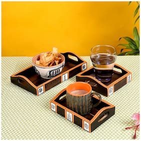 Aakriti Hand Painted Wooden Tray ( Set of 3)