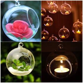 Aakriti Hanging Glass Plant Terrariums - Glass Orbs Air Plants Tea Light Candle Holders Succulents Moss Miniature Garden Planters Home Decor Indoor Garden