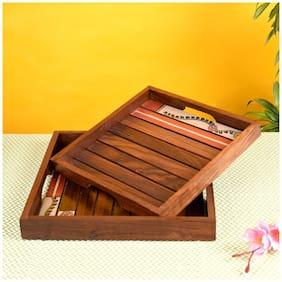 Aakriti Madhubani Handpainted Sheesham Wood Tray (Set of 2)
