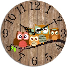 AALAPINO Wood Analog Wall clock ( Set of 1 )