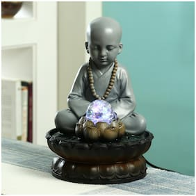 Aapno Rajasthan Hand Sculpted Meditating Buddha Indoor Water Fountain with Light