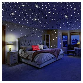 Aarcode Galaxy Of Night Glowing Radium Magic Star And Moon For Roof;Bedroom Ceiling & Wall Sticker