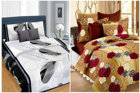 AAZEEM  Cotton Polyester 2  Double  Bedsheet with 4 Pillow