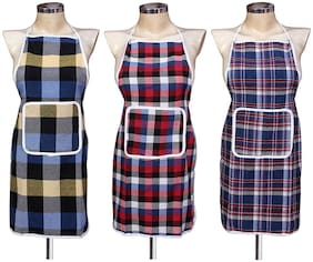 AAZEEM Cotton Check  Apron Pack of 3 with Water proof Back