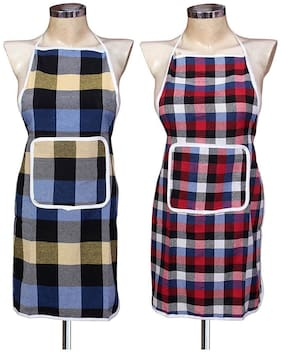AAZEEM Cotton Check  Apron Pack of 2 with water proof Back