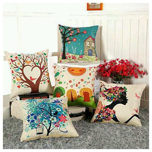 Decorative Floral Cushions  Cotton Dark Blue Indian Pillow Covers Set of 5 PCS