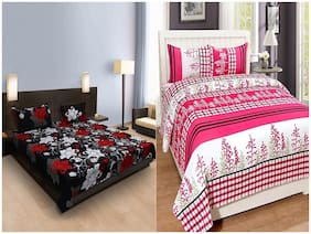 Aazeem Floral Poly Cotton Double Bedsheet With Pillow Covers