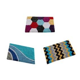 Aazeem Multicolor Cotton Door Mat Set of 3