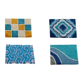 Aazeem Multicolor Cotton Door Mat Set of 4