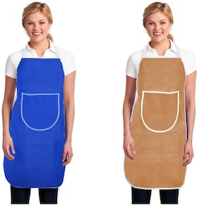 Aazeem Non woven Apron Blue & Beige ( Pack of 2 )