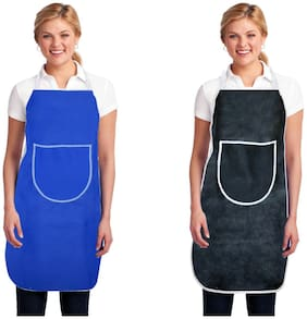 Aazeem Non woven Apron Blue & Black ( Pack of 2 )