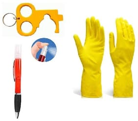 Ab ware 1 Pair Waterproof Cleaning Household Gloves and Get 1pc Safety Key + Portable Sanitizer Empty Pen Spray FREE