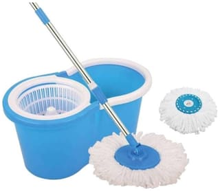 Ab ware Ab ware Spin Bucket Mop with 2 Refills- Super Absorbent Refills for All Type of Floors, 360 deg Spin Bucket, 180 deg Bendable Handle, for Perfect Cleaning