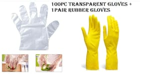 Ab ware combo of Set of 1(100pcs) transparent disposable glove +1 pair rubber gloves