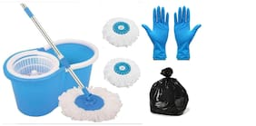 Ab ware Combo of Spin Bucket Mop with 3 Refills + 100 Garbage Bag (17x23) + 1 Pair Reusable Cleaning Glove