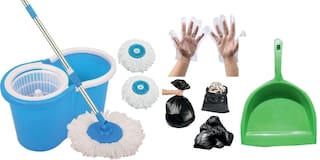 Ab ware Combo of Spin Bucket Mop with 3 Refills + 100 Garbage Bag (17x23) + 1 Microfibre Glove + 100 Transparent Glove + 1 Dust Pan