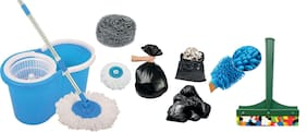 Ab ware Combo of Spin Bucket Mop with 2 Refills + 100 Garbage Bag (17x23) + 1 Microfibre Glove + 1 Steel Juna + 1 Kitchen Wiper