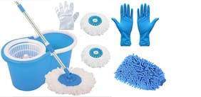 Ab ware Combo of Spin Bucket Mop with 3 Refills + 100 Transparent Glove + 1 Pair Reusable Cleaning Glove + 1pc Microfibre Glove