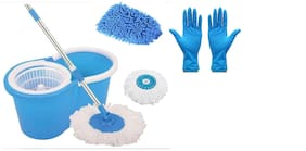 Ab ware Combo of Spin Bucket Mop with 2 Refills + 1 Pair Reusable Cleaning Glove + 1pc Microfibre Glove