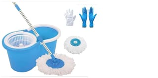 Ab ware Combo of Spin Bucket Mop with 2 Refills + 100 Transparent Glove + 1 Pair Reusable Cleaning Glove