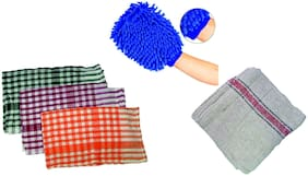 Ab ware Combo of 1 Microfibre Glove + 3 Kitchen Duster 14x14inch + 1 Floor Duster 18x18inch