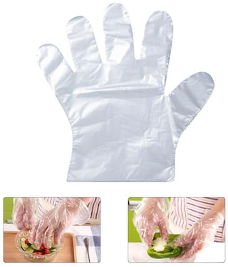 Ab Ware Disposable Gloves 25 Microns - Thick Transparent;Set of 8(800 pcs) Plastic Food Safe Disposable Gloves;Food Handling;One Size Fits Most
