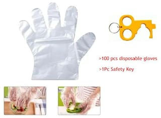 Ab Ware Set of 1(100pcs) Transparent Disposable Gloves and Get 1pc Safety Key Free