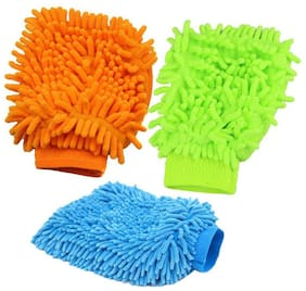 Ab ware Single Sided Microfiber Gloves for Cleaning and Dusting - Assorted Color - Set of 3