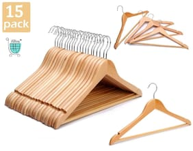 ABbuy Wood Beige Hangers ( Set of 15 )