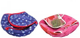 AC Roti Basket/Roti Cotton Cloth Basket/Washable with Chain (Design/Colored May Vary) Set of 2