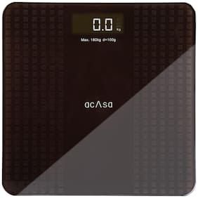 Acasa Digiscale Silica Digital Body Weight Machine with LCD Display And Step-on Technology (Brown;Grey)