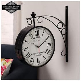 Accents & Decor 10 Inch Victoria Station Clock/Double Side Clock Railway Station /360 Degree Rotatable/Wall Clock for Home