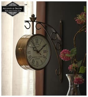 Accents & Decor 6 inch Golden Brass Victoria Station Clock/Double Side Clock Railway Station /360 Degree Rotatable/Wall Clock for Home