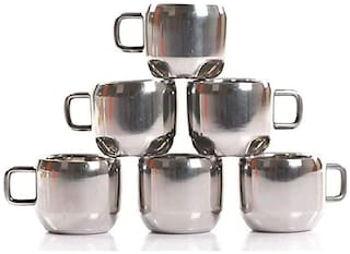 TBD Double Wall Stainless Steel Tea & Coffee Cups-Set of 6
