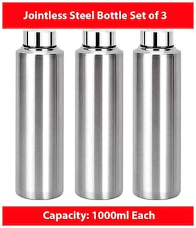 TBD Stainless Steel Silver Water Bottle ( 1000 ml , Set of 3 )
